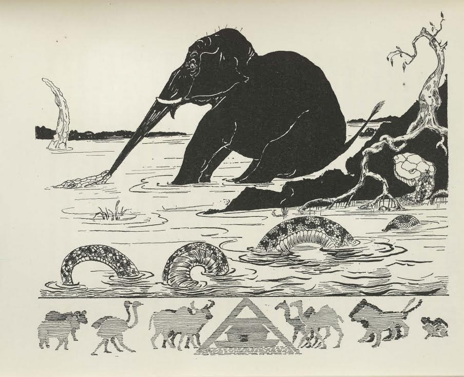 woodcut of elephant getting its trunk